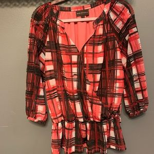 Dana Buchman red plaid shirt.